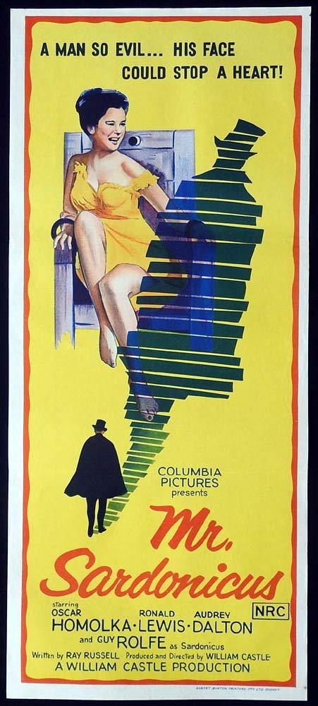 MR SARDONICUS Original Daybill Movie Poster Ronald Lewis William Castle Audrey Dalton