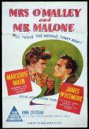MRS O'MALLEY AND MR MALONE Original One sheet Movie Poster Marjorie Main James Whitmore Ann Dvorak