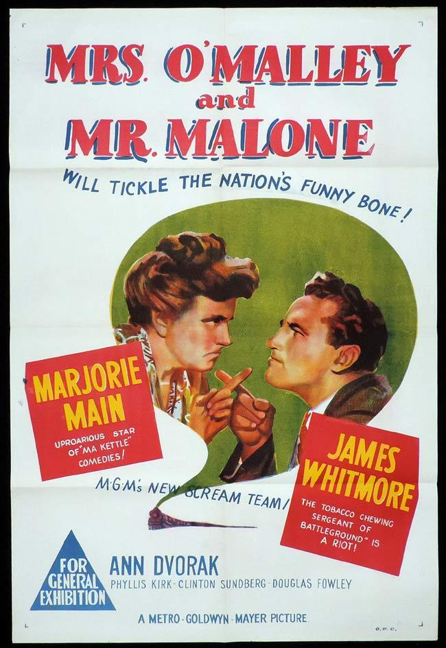 MRS O'MALLEY AND MR MALONE Original One sheet Movie Poster Marjorie Main James Whitmore Ann Dvorak