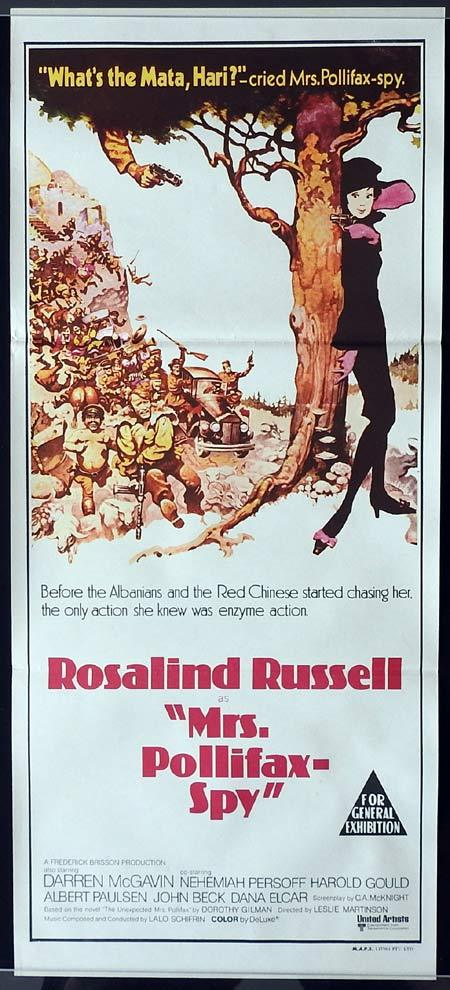 MRS POLLIFAX SPY Original Daybill Movie Poster Rosalind Russell