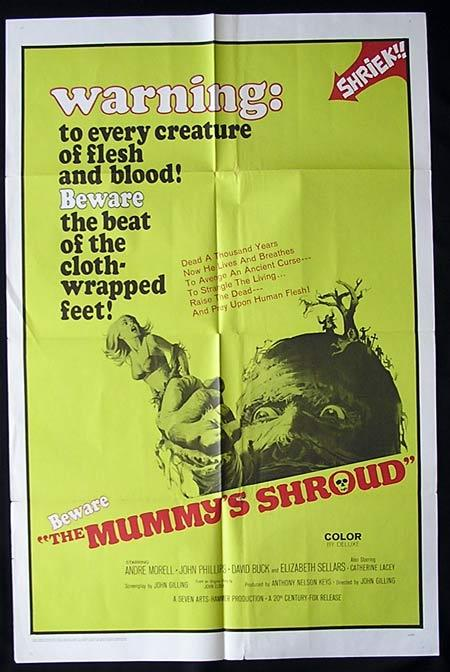 THE MUMMY'S SHROUD US One sheet Movie poster Hammer Horror