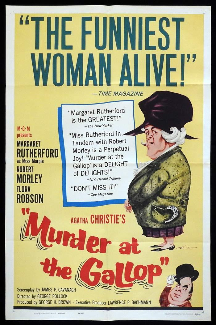 MURDER AT THE GALLOP Original US One sheet Movie poster Margaret Rutherford A