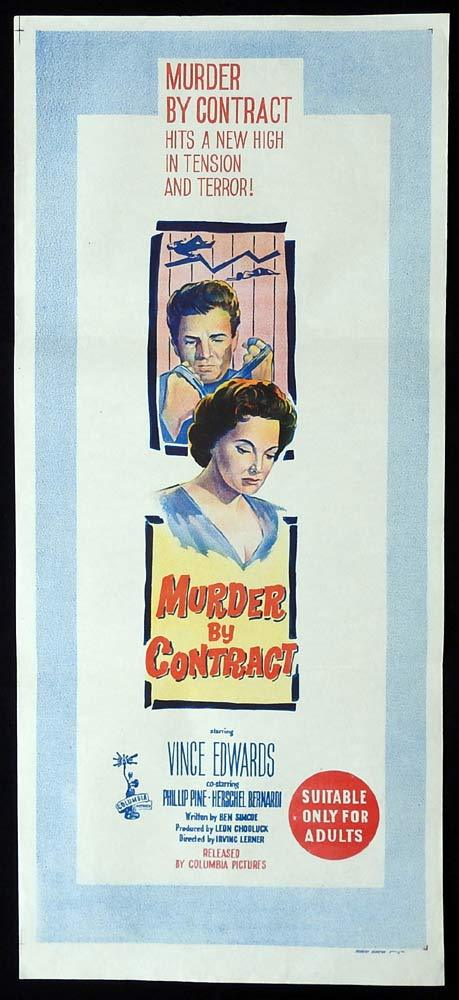 MURDER BY CONTRACT Original Daybill Movie Poster Vince Edwards Phillip Pine
