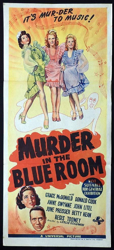 MURDER IN THE BLUE ROOM Original Daybill Movie poster Anne Gwynne John Litel
