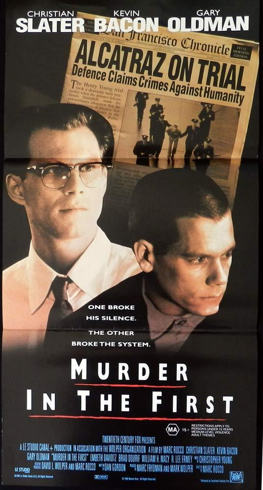 MURDER IN THE FIRST Original Daybill Movie poster Kevin Bacon Gary Oldman