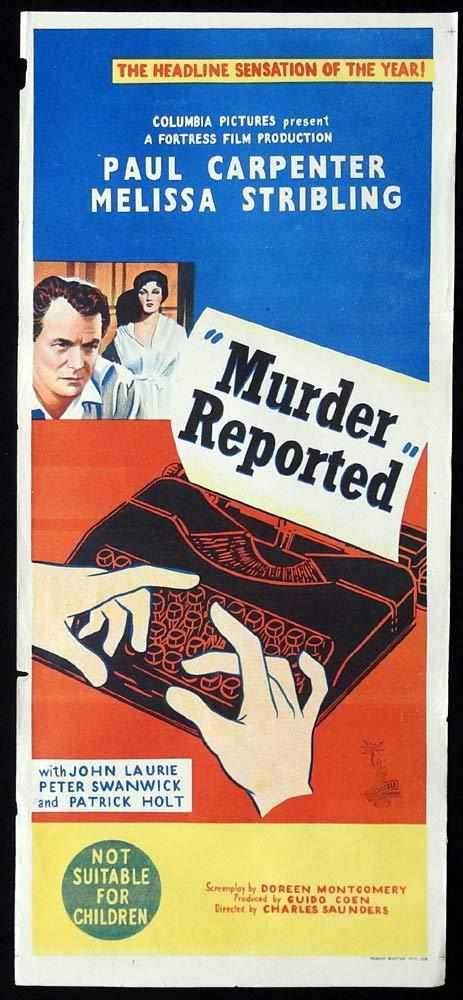 MURDER REPORTED Original Daybill Movie Poster Film Noir Paul Carpenter