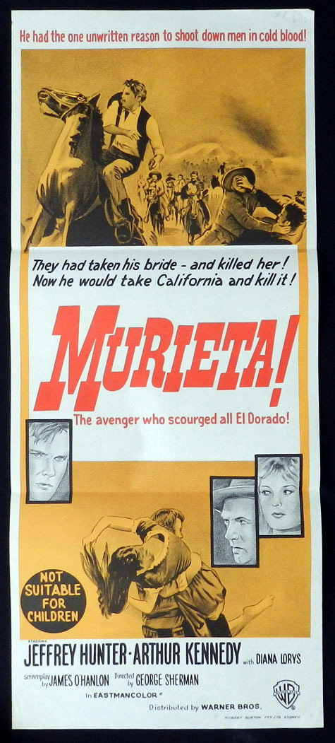 MURIETA Jeffrey Hunter Arthur Kennedy VINTAGE Daybill Movie poster