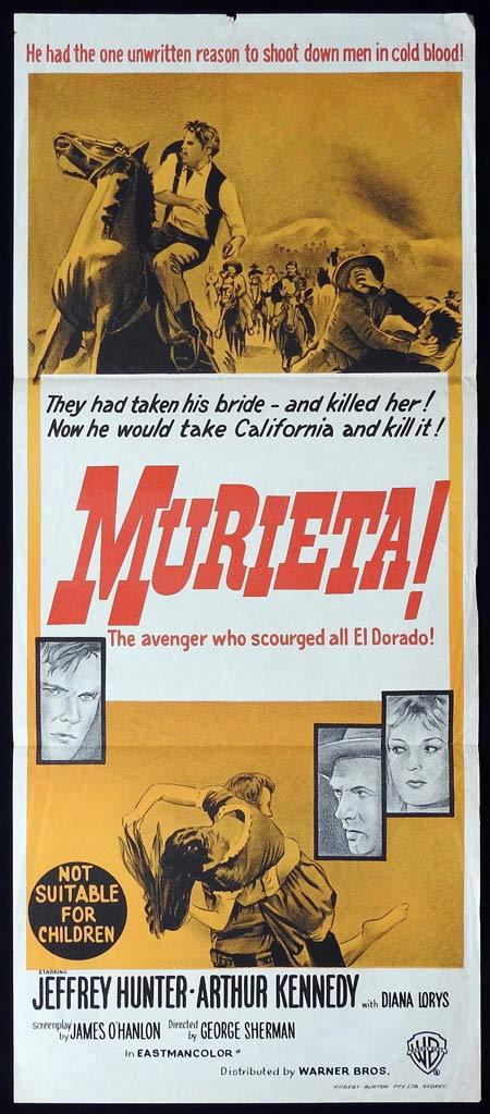MURIETA Original daybill Movie Poster Jeffrey Hunter Arthur Kennedy