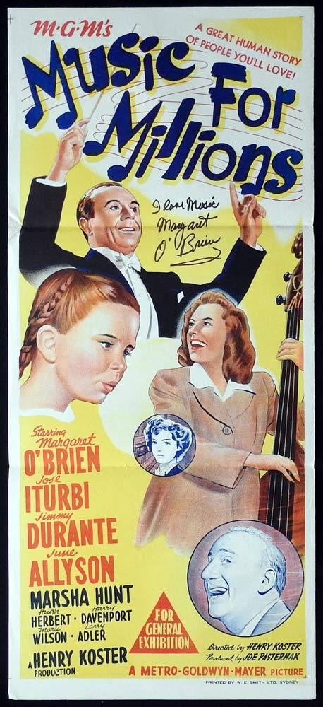MUSIC FOR MILLIONS Original Daybill Movie Poster Margaret O'Brien Autograph