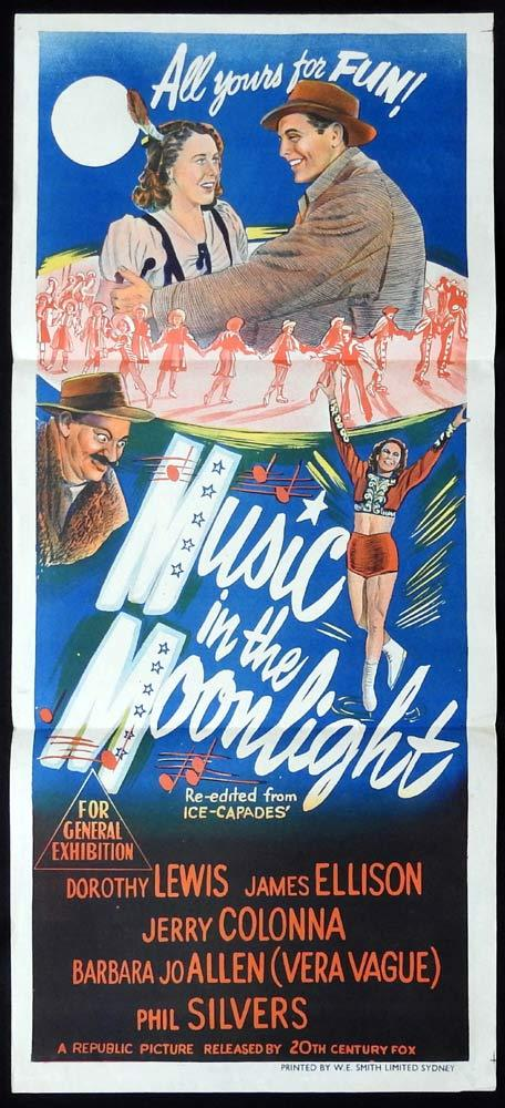 MUSIC IN THE MOONLIGHT aka ICE CAPADES Original 1940s Daybill Movie poster