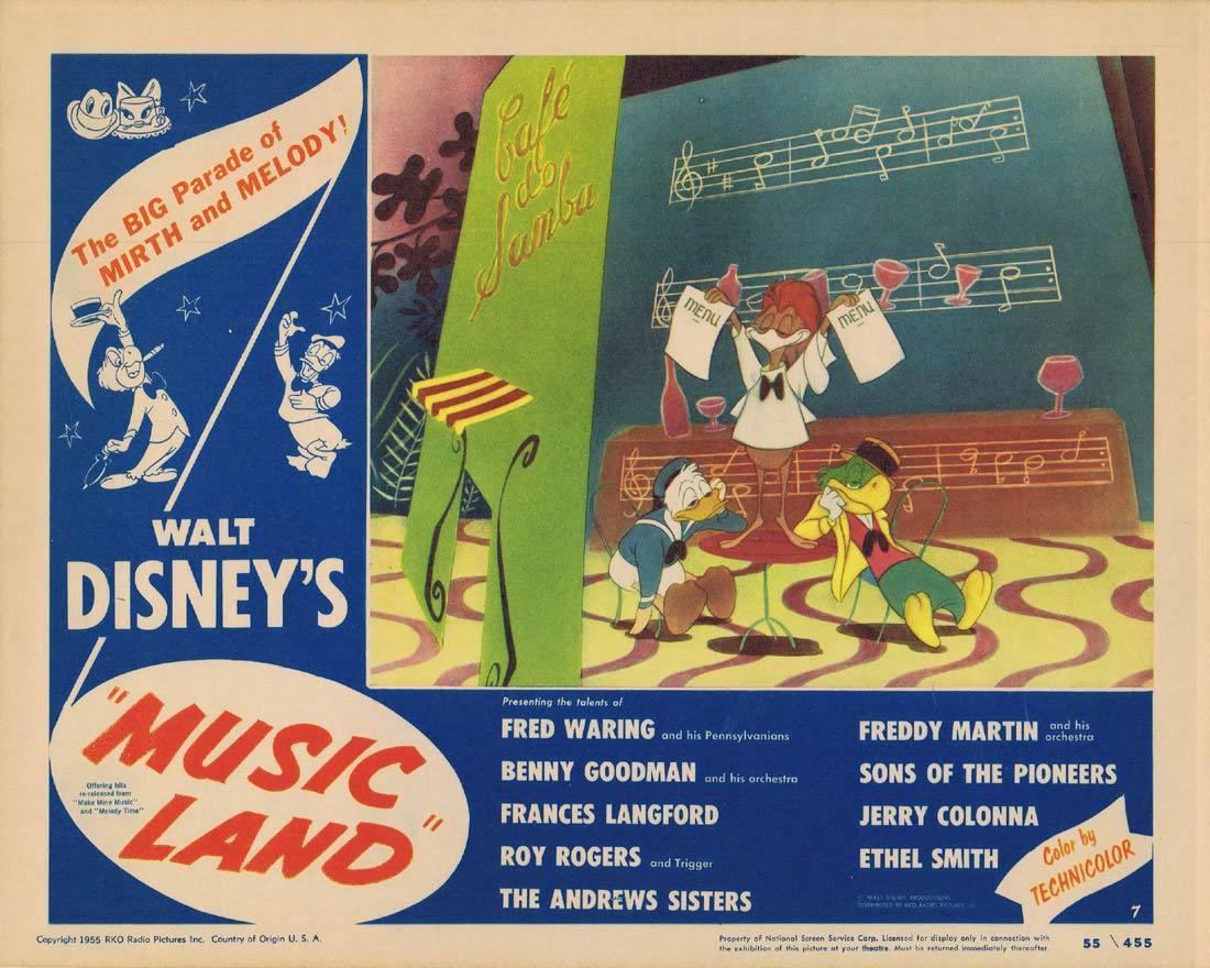 MUSIC LAND 1955 Disney DONALD DUCK Rare Lobby card 5