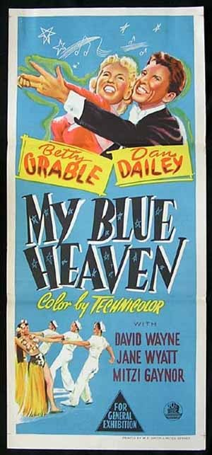 MY BLUE HEAVEN Daybill Movie Poster 1950 Betty Grable Dailey