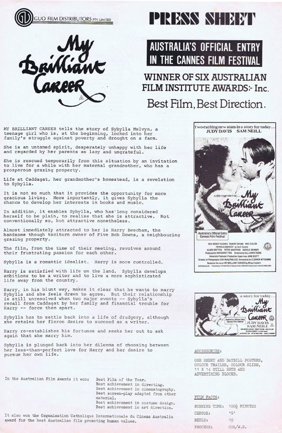 MY BRILLIANT CAREER Rare AUSTRALIAN Movie Press Sheet
