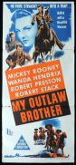 MY OUTLAW BROTHER Original Daybill Movie Poster Mickey Rooney Robert Preston