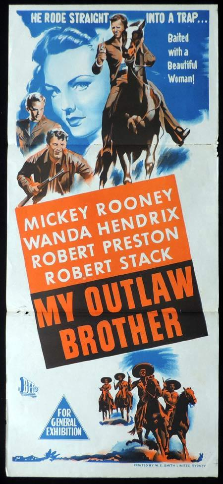 MY OUTLAW BROTHER Original Daybill Movie Poster Mickey Rooney Robert Preston