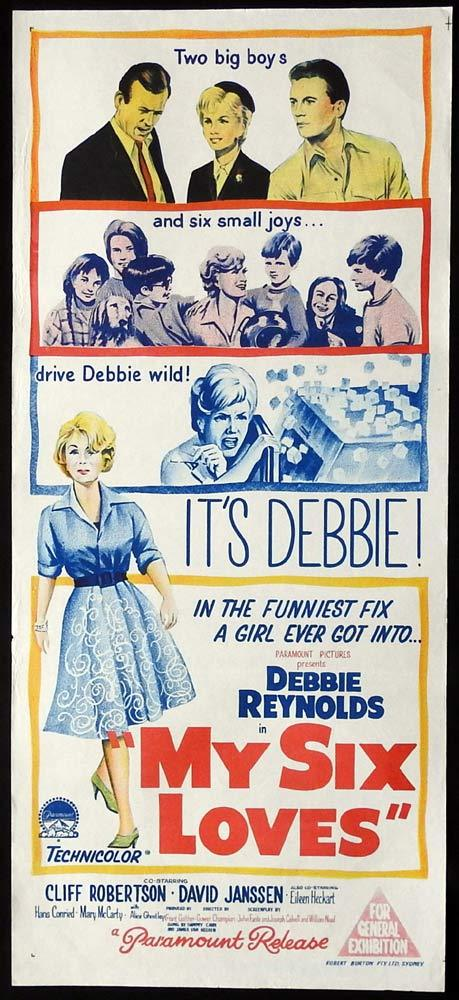 MY SIX LOVES Original Daybill Movie Poster Debbie Reynolds Cliff Robertson