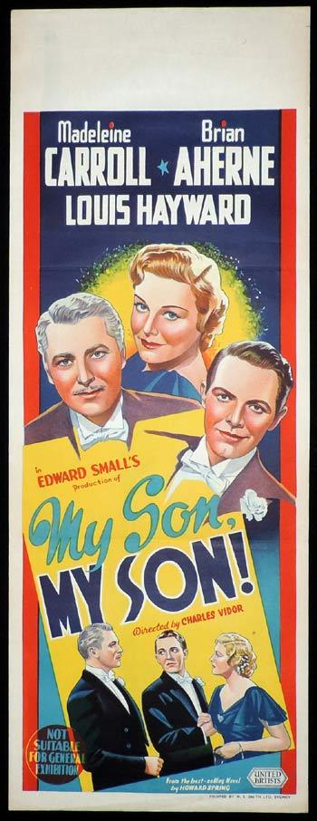 MY SON MY SON Long Daybill Movie poster 1940 Madeleine Carroll