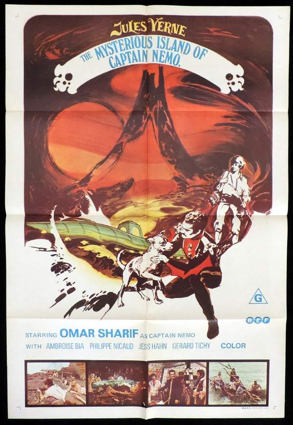 MYSTERIOUS ISLAND OF CAPTAIN NEMO One Sheet Movie Poster Jules Verne Omar Sharif