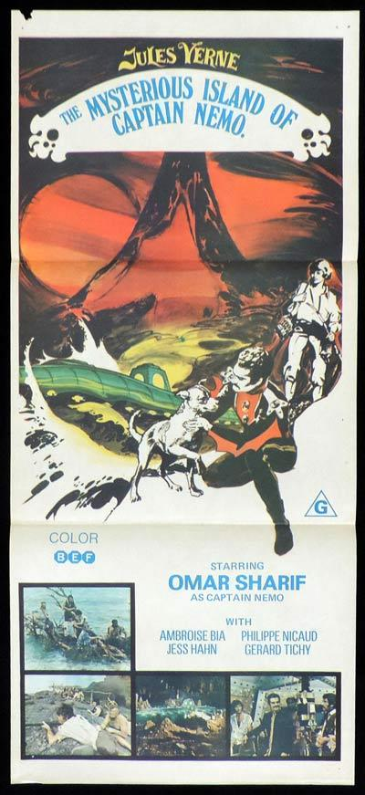 MYSTERIOUS ISLAND OF CAPTAIN NEMO Daybill Movie Poster Jules Verne Omar Sharif