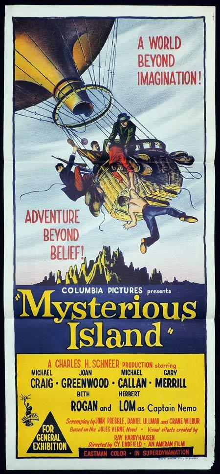 MYSTERIOUS ISLAND Original Daybill Movie Poster Jules Verne Hot Air Balloon Sci Fi