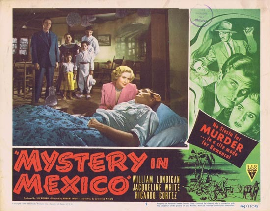 MYSTERY IN MEXICO 1948 Film Noir William Lundigan Lobby Card 4