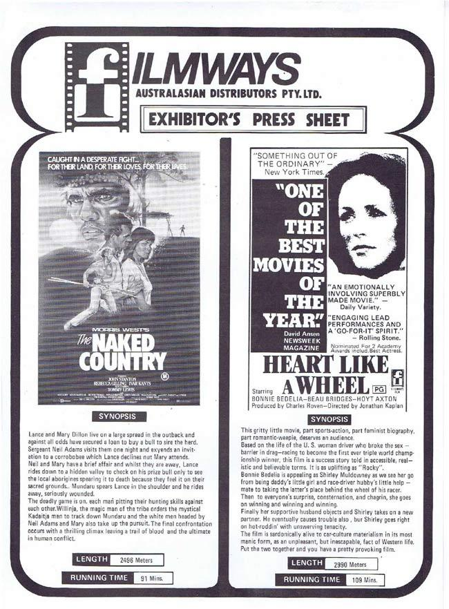 THE NAKED COUNTRY Rare AUSTRALIAN Movie Press Sheet