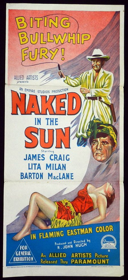 NAKED IN THE SUN Richardson Studio ORIGINAL Daybill Movie poster