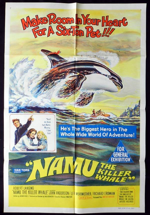 NAMU THE KILLER WHALE One Sheet Movie Poster Robert Lansing