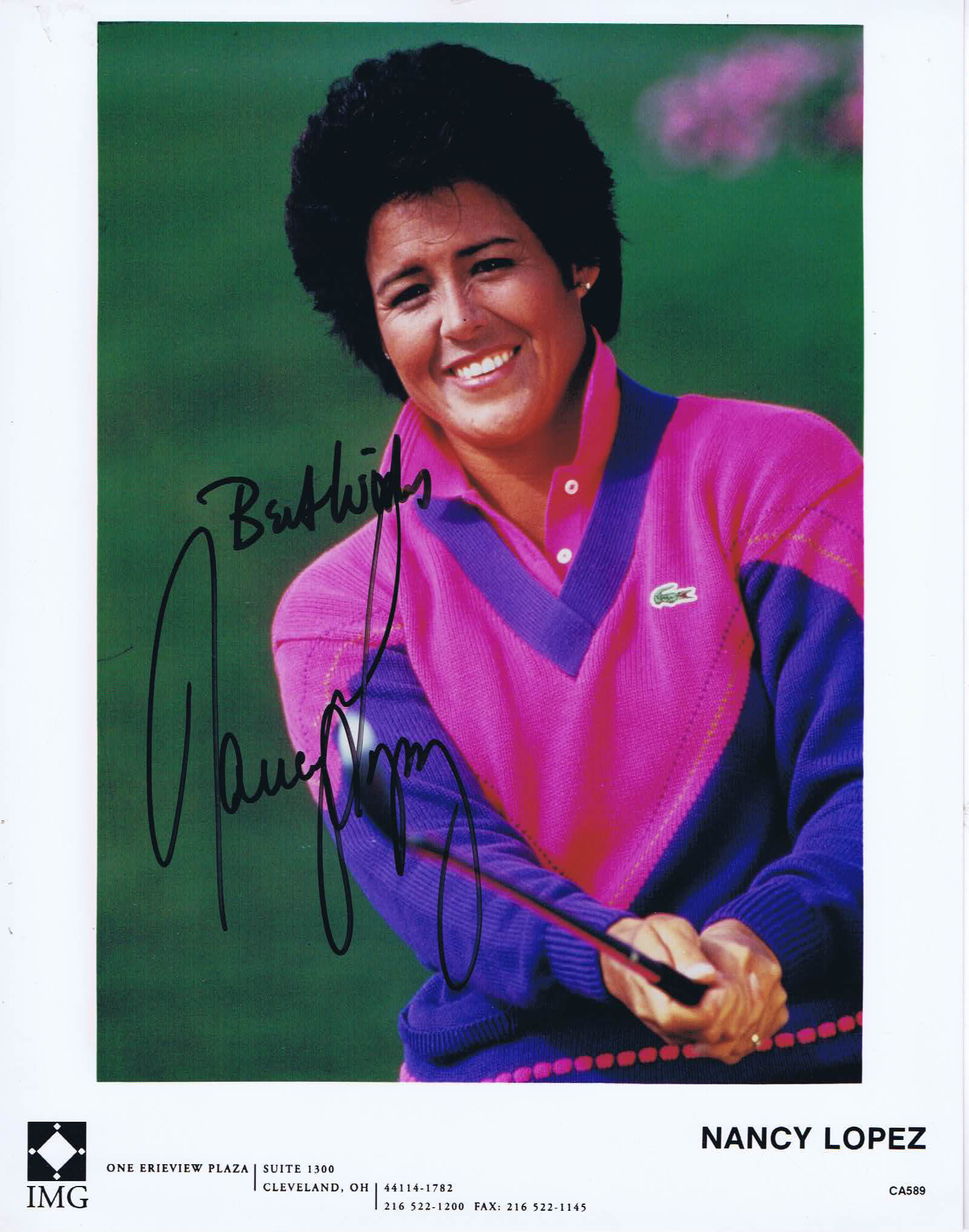 NANCY LOPEZ Autograph 8 x 10 Photo Golf