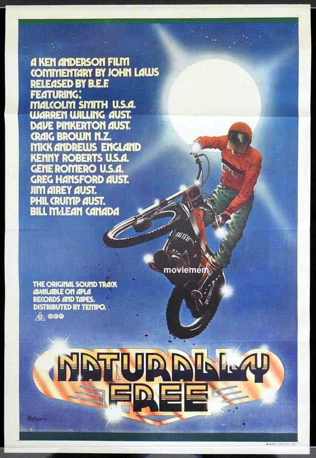 NATURALLY FREE One sheet Movie poster Motorcycle art by Peter Ledger