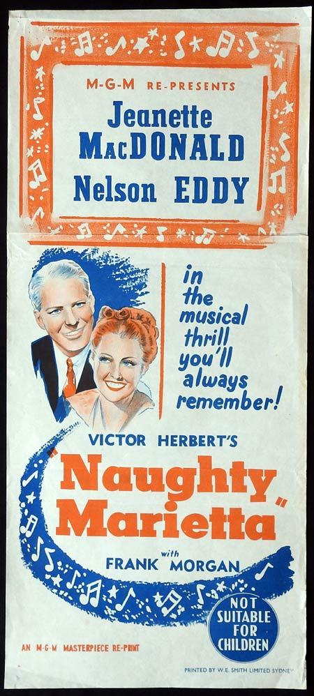 NAUGHTY MARIETTA Original daybill Movie Poster 1950sr