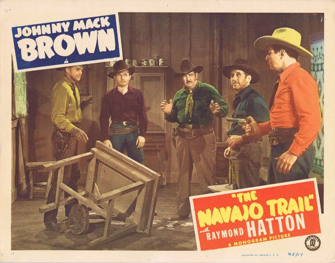 THE NAVAJO TRAIL Original Lobby Card 2 Johnny Mack Brown Raymond Hatton Jennifer Holt