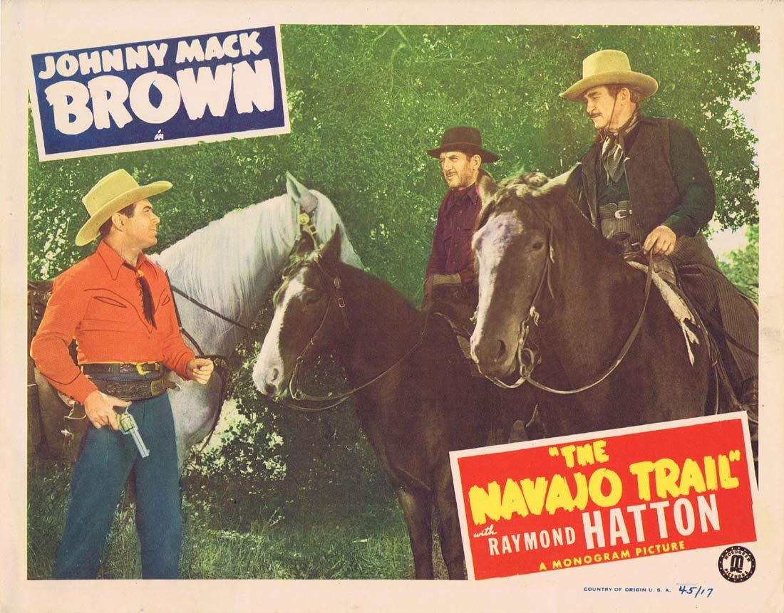 THE NAVAJO TRAIL Original Lobby Card 3 Johnny Mack Brown Raymond Hatton Jennifer Holt