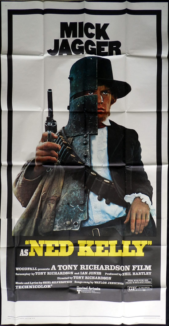 NED KELLY 1970 Mick Jagger Vintage US 3 sheet Movie Poster