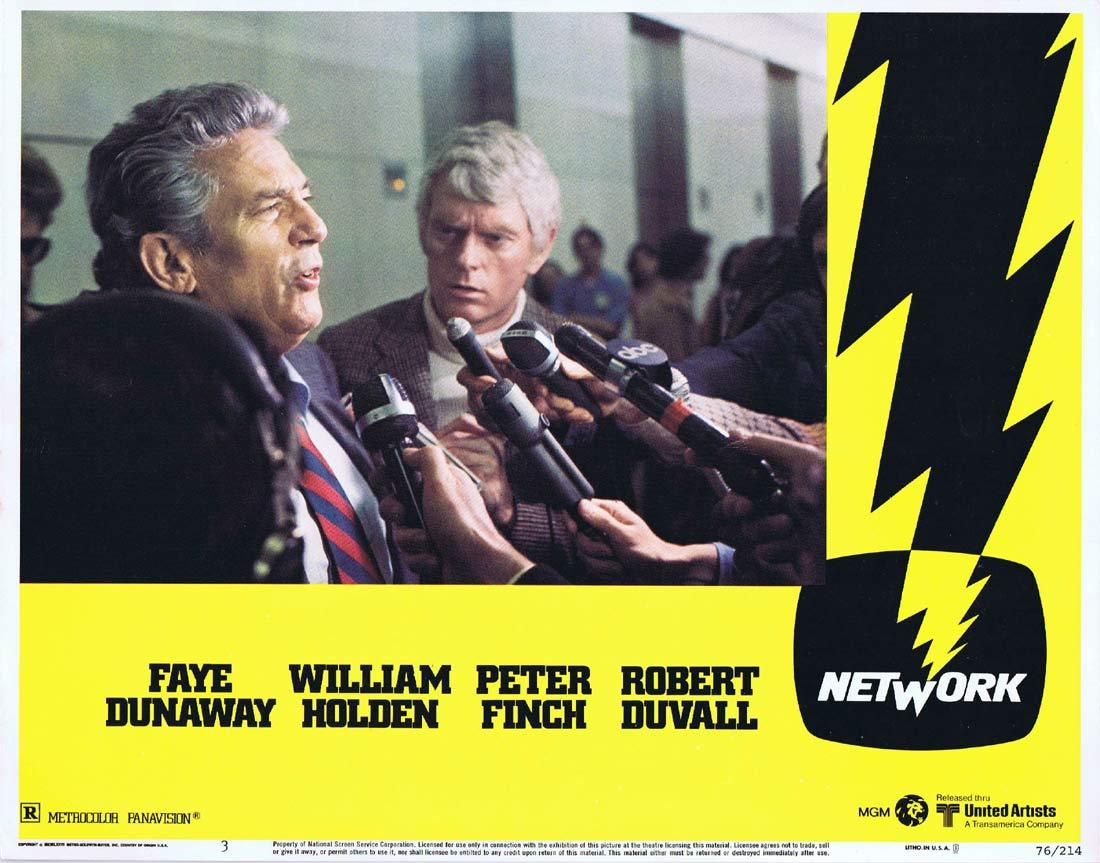 NETWORK Lobby card 3 1975 Peter Finch Faye Dunaway