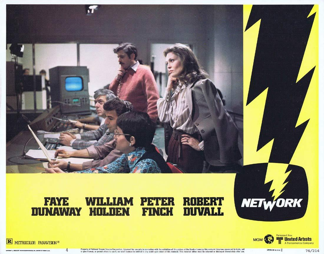 NETWORK Lobby card 4 1975 Peter Finch Faye Dunaway