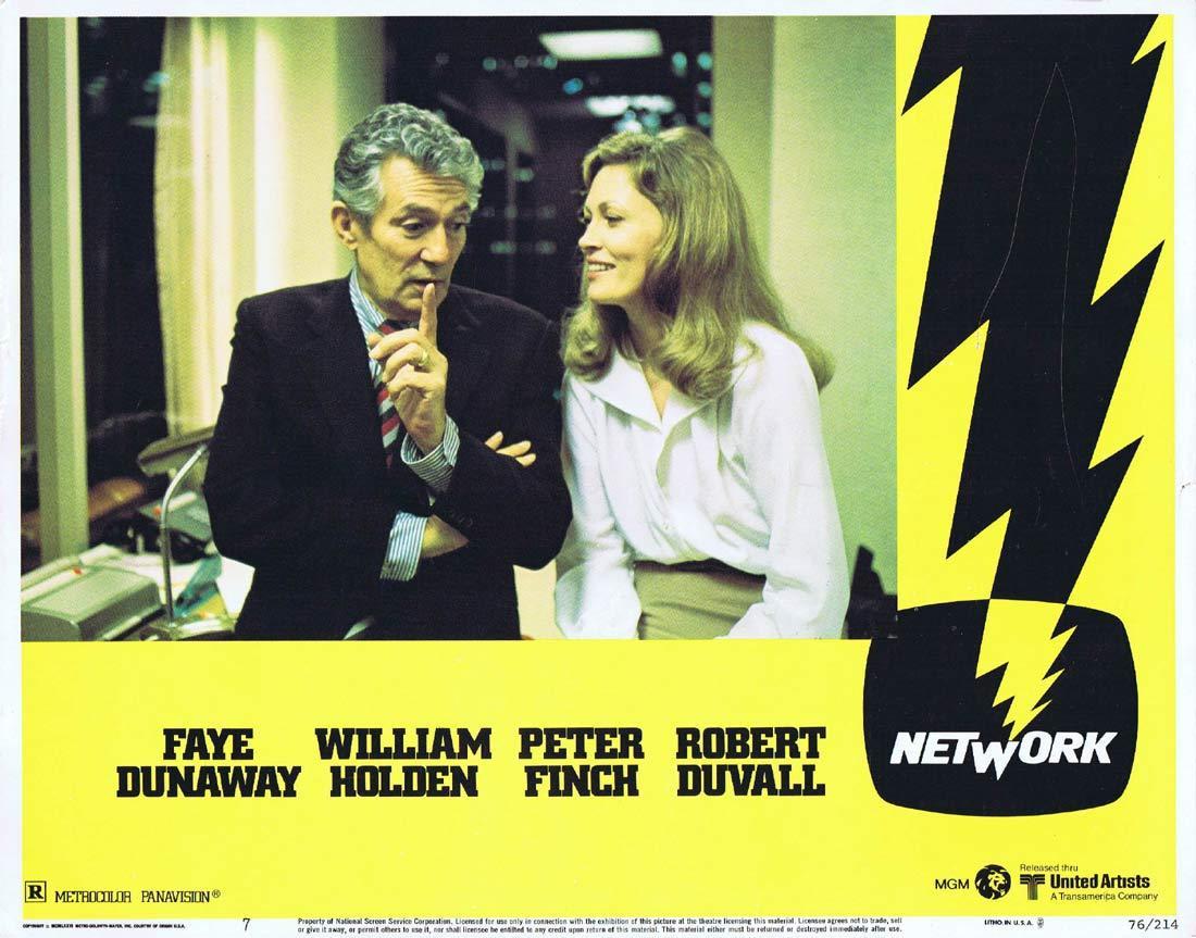 NETWORK Lobby card 7 1975 Peter Finch Faye Dunaway
