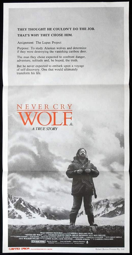 NEVER CRY WOLF Original daybill Movie Poster Charles Martin Smith Brian Dennehy