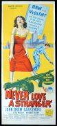 NEVER LOVE A STRANGER Original Daybill Movie Poster JOHN DREW BARRYMOORE Richardson Studio