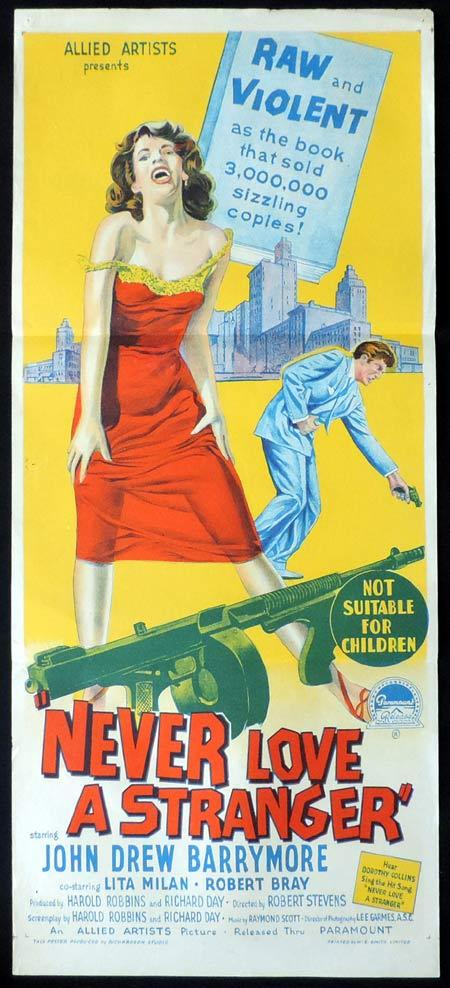 NEVER LOVE A STRANGER Original Daybill Movie Poster JOHN DREW BARRYMOORE Richardson Studio