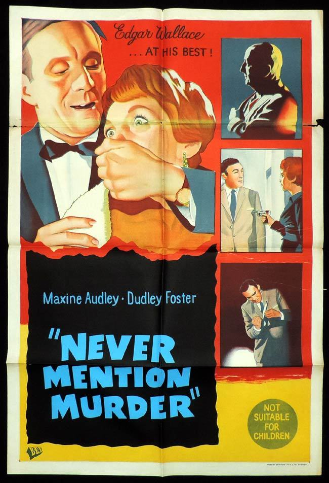 NEVER MENTION MURDER One Sheet Movie Poster Edgar Wallace Film Noir