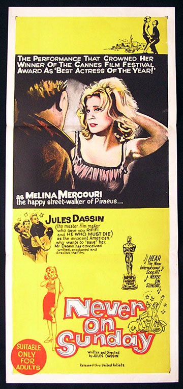 NEVER ON SUNDAY Daybill Movie poster 1960 Jules Dassin Mercouri