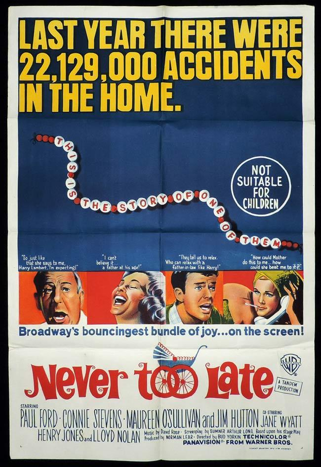 NEVER TOO LATE One Sheet Movie Poster Connie Stevens Maureen O'Sullivan