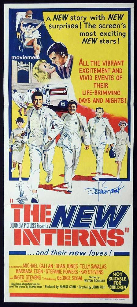 THE NEW INTERNS Original Daybill Movie Poster STEFANIE POWERS Autograph