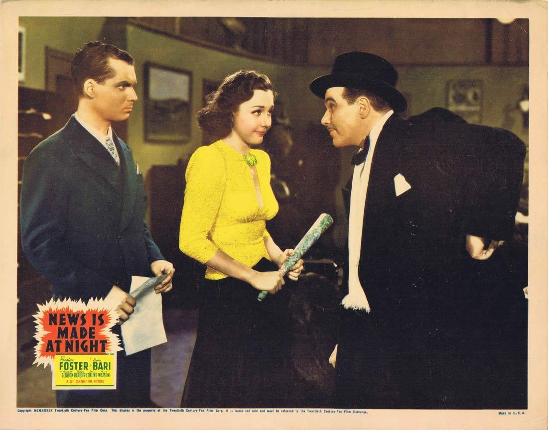 NEWS IS MADE AT NIGHT Lobby Card Preston Foster Lynn Bari Russell Gleason