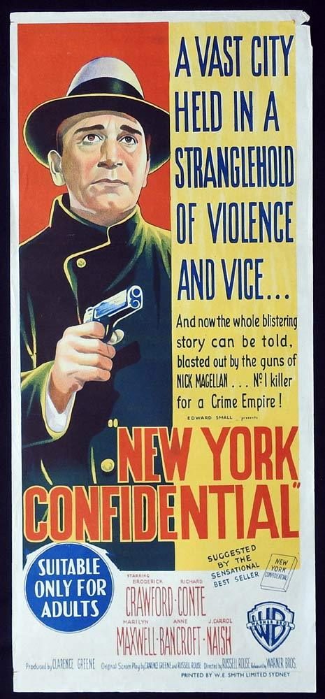 NEW YORK CONFIDENTIAL Original Daybill Movie Poster Broderick Crawford Richard Conte