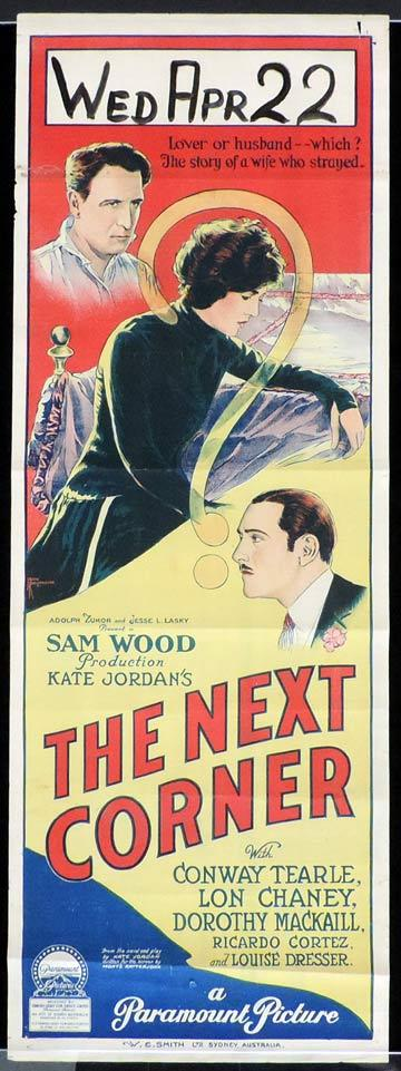 THE NEXT CORNER Long Daybill Movie poster 1923 JOHN RICHARDSON signature