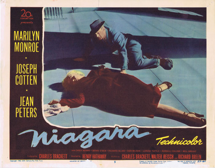 Niagara, lobby card, movie poster, Henry Hathaway, Marilyn Monroe, Joseph Cotten, Jean Peters, Max Showalter, Lurene Tuttle, Denis O'Dea, Russell Collins