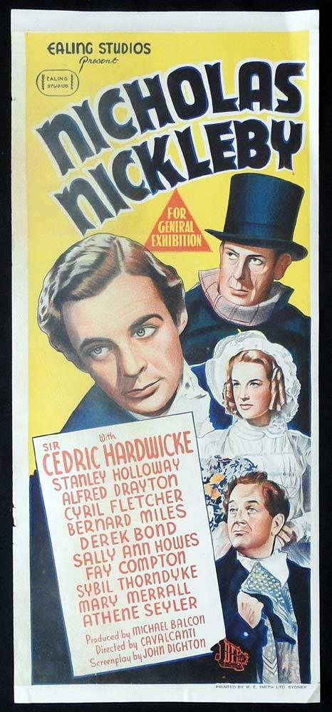 NICHOLAS NICKLEBY Original Daybill Movie poster EALING Stanley Holloway