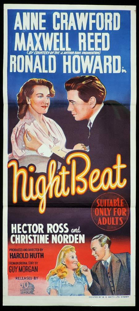 NIGHT BEAT Original Daybill Movie Poster Maxwell Reed Anne Crawford